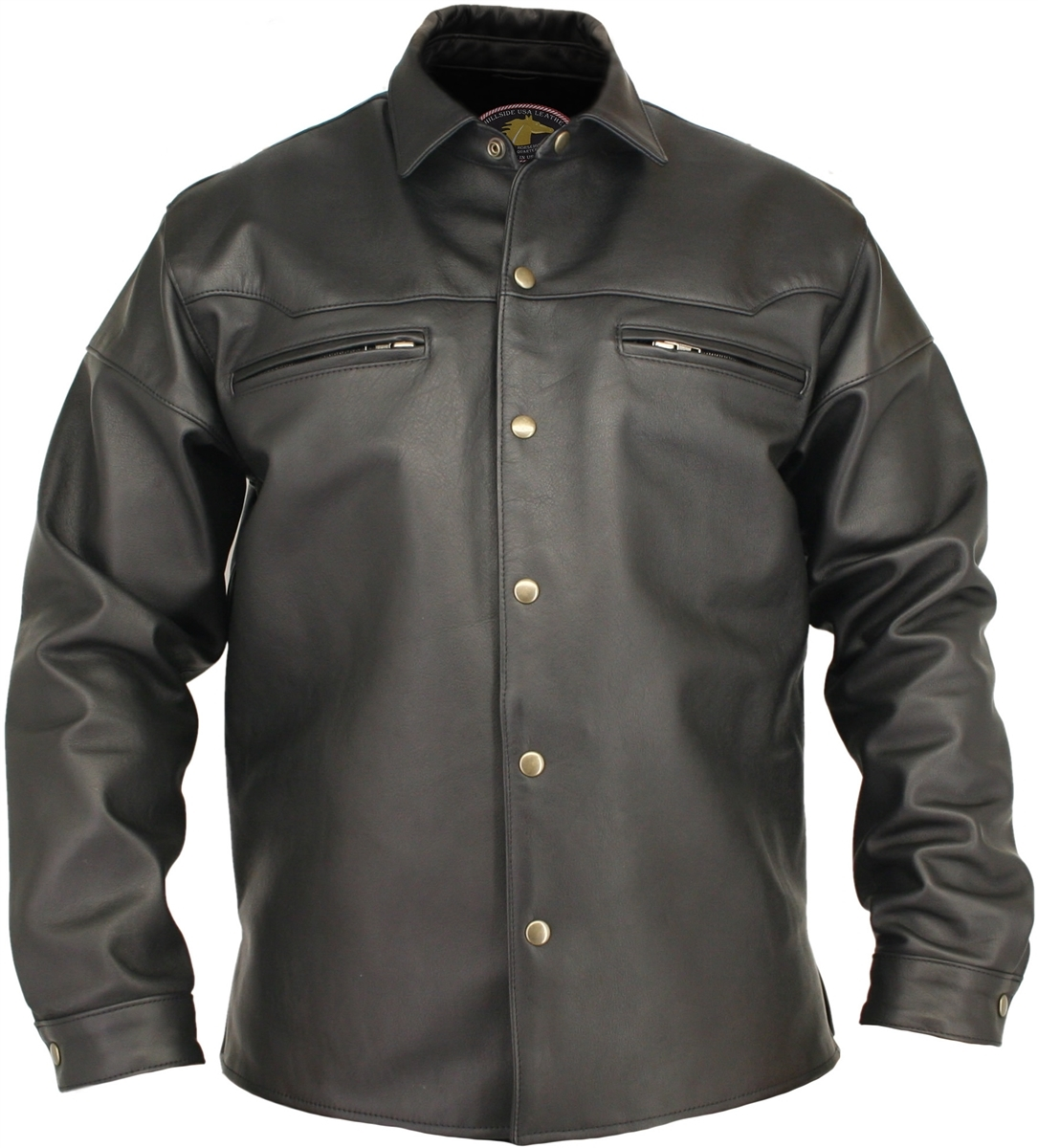 Pure style and sophistication aptly describes the HORSEHIDE COLLECTION. There's nothing like the feel of a genuine Horsehide shirt, especially one with as much attitude and quality as this one. Crafted with 1.2-1.4mm Genuine Front Quarter Horsehide. Dual