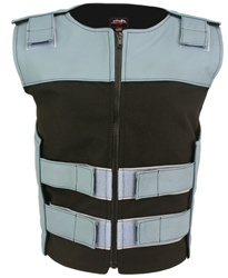 Women's Leather & Cordura Combo Zippered Tactical Style Vest Baby Blue-Black