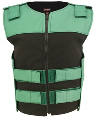 Women's Leather & Cordura Combo Zippered Tactical Vest Green-Black