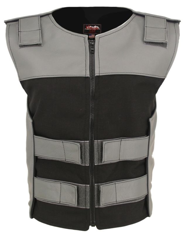 Leather & Cordura Combo Zippered Bulletproof Vest. The most functional, light weight combination of leather and waterproof Denier Cordura 1000 fabric. Hillside USA latest creation features: Cordura Front and Rear center panels, Leather top front, Rear sho