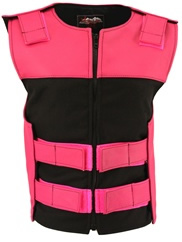 Women's Leather & Cordura Combo Zippered Tactical Vest Hot Pink/Black
