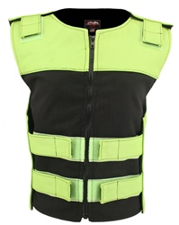 Women's Leather & Cordura Combo Zippered Tactical Vest Lime Green-Black