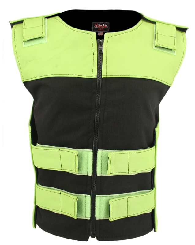 Women's Leather and Cordura Combo Zippered Tactical Vest Lime Green Black