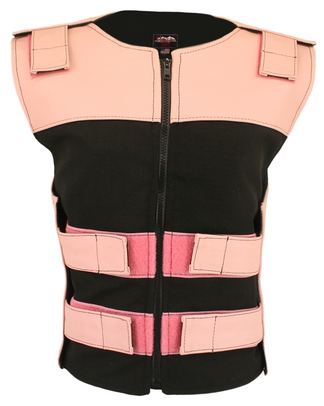 Women's Leather and Cordura Combo Zippered Tactical Vest Pink Black