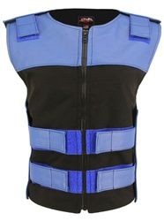 Women's Leather & Cordura Combo Zippered Tactical Vest Royal Blue-Black