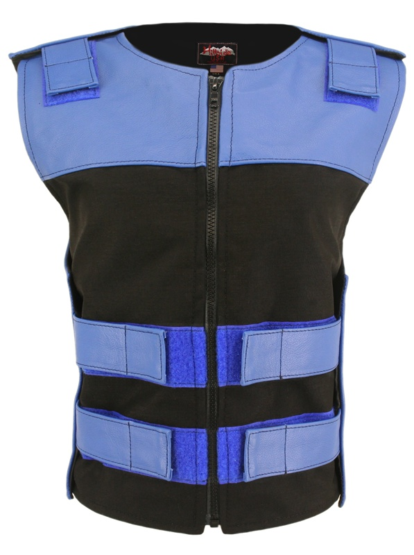 Women's Leather and Cordura Combo Zippered Tactical Vest Royal Blue Black