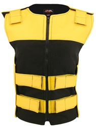 Women's Leather & Cordura Combo Zippered Tactical Vest Yellow-Black