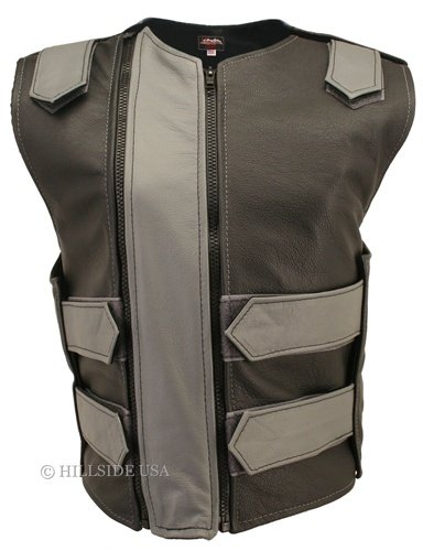The Women's Double Zipper Bulletproof Leather Vest. Take a minute or two to admire another creation from Hillside USA, with its soft cowhide leather and superb construction. Front flap with dual zipper closures allowing to remove it and embroider you club