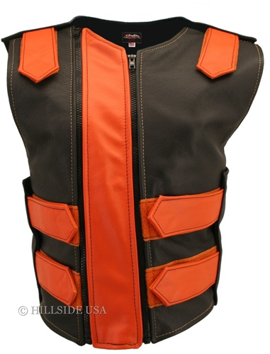 Hillside USA Women's Double Zipper Tactical Leather Vest  Black Orange
