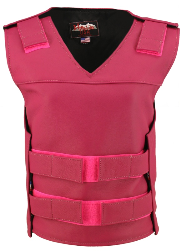 The Ladies Hot Pink Bulletproof Style vest is the latest craze to hit the market. Hand-crafted of (2 1/2 oz) full- grain cowhide leather. Adjustable Velcro waist. Proudly made in the USA, a Lifetime investment. Lifetime Guarantee.