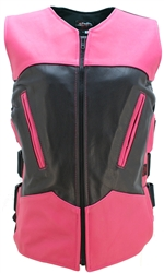 Women's Two Tone Interceptor Black/Hot Pink Leather Vest
