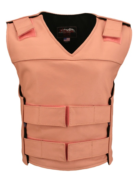 The Ladies Pink Bulletproof Style vest is the latest craze to hit the market. Hand-crafted of (2 1/2 oz) full- grain cowhide leather. Adjustable Velcro waist. Proudly made in the USA, a Lifetime investment. Lifetime Guarantee.