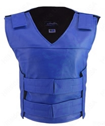 Hand-crafted of (2 1/2 oz) full- grain cowhide leather. Adjustable Velcro waist and shoulder leather straps to fit more than one size. Two zippered pockets inside. Poly Twill an extremely durable liner, The Ladies Bullet Proof Style Vest is at the cutting