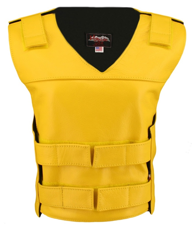 The Ladies Bulletproof Style Vest is the latest craze to hit the market. Hand-crafted of (2 1/2 oz) full- grain cowhide leather. Adjustable Velcro waist and shoulder leather straps to fit more than one size. Two zippered pockets inside. Poly Twill an extr