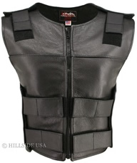 Women's Blk Zippered Tactical Style Leather Vest