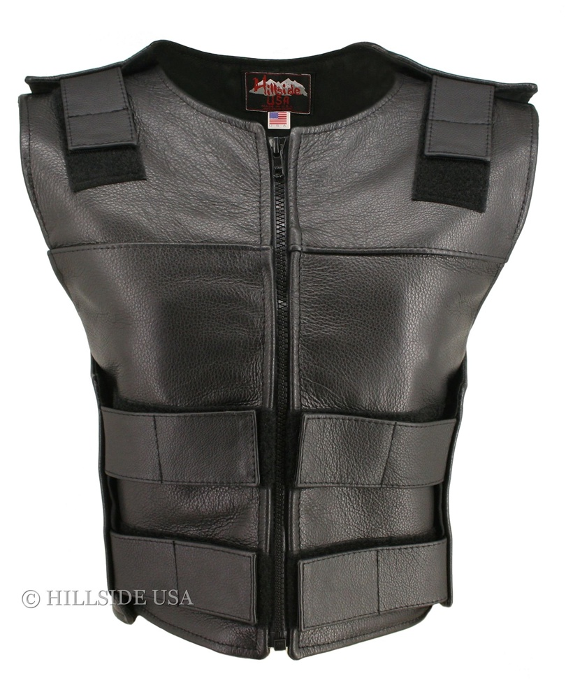 Women's zippered bulletproof style Vest, where design and function coexist with supple leather for the best in comfort and beauty. Hand-crafted of (2 1/2 oz) full- grain cowhide leather. Adjustable Velcro waist and shoulder leather straps to fit more than