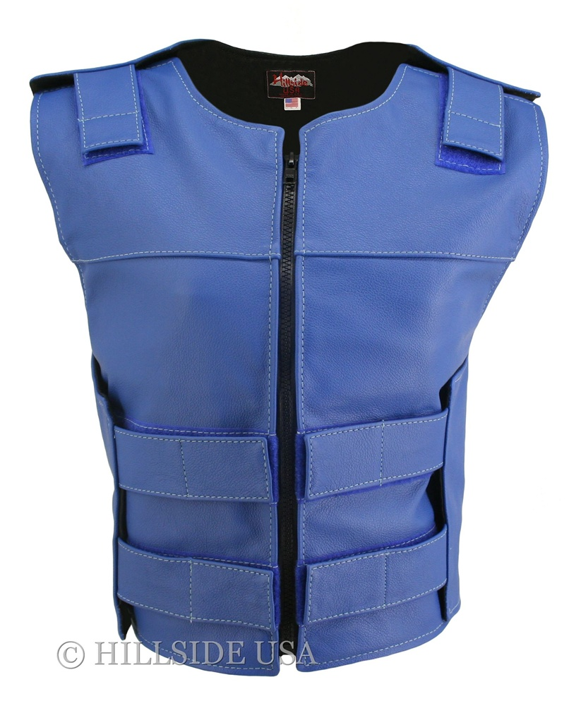 Women's Blue Zippered Bulletproof Style Vest, where design and function coexist with supple leather for the best in comfort and beauty. Hand-crafted of (2 1/2 oz) full- grain cowhide leather. Adjustable Velcro waist and shoulder leather straps to fit more