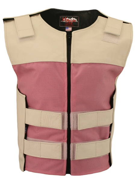Leather & Cordura Combo Zippered Tactical Vest.The most functional, light weight combination of leather and waterproof Denier Cordura 1000 fabric. Hillside USA latest creation features:Pink Cordura Front and Rear center panels, White leather top front, re