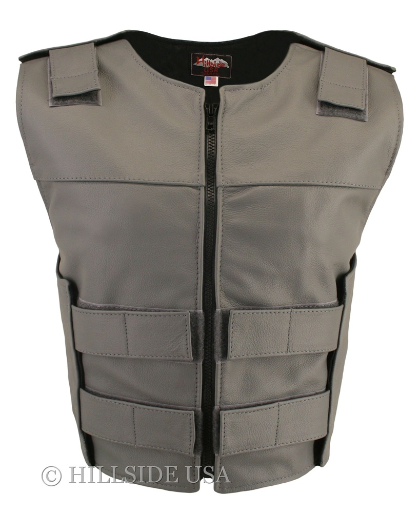 Women's Grey Zippered Bulletproof Style Vest, where design and function coexist with supple leather for the best in comfort and beauty. Hand-crafted of (2 1/2 oz) full- grain cowhide leather. Adjustable Velcro waist and shoulder leather straps to fit more