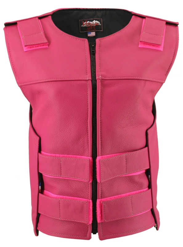 Women's Hot Pink Zippered Bulletproof Style Vest, where design and function coexist with supple leather for the best in comfort and beauty. Hand-crafted of (2 1/2 oz) full- grain cowhide leather. Adjustable Velcro waist and shoulder leather straps to fit