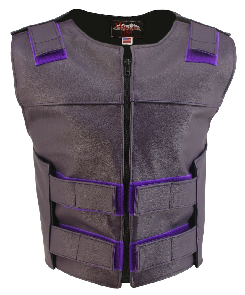 Women's Purple Zippered Bulletproof Style Vest, where design and function coexist with supple leather for the best in comfort and beauty. Hand-crafted of (2 1/2 oz) full- grain cowhide leather. Adjustable Velcro waist and shoulder leather straps to fit mo