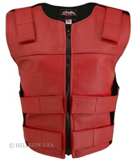 Women's Zippered Tactical Style Red Leather Vest
