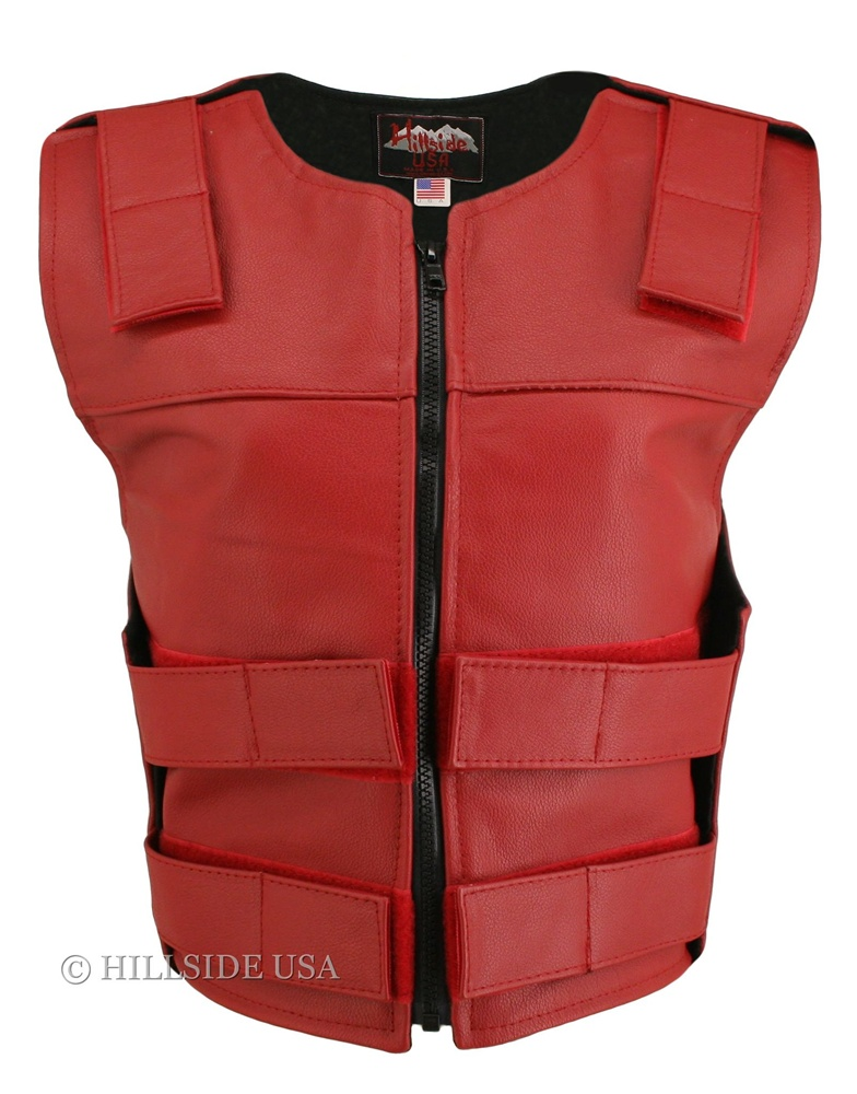 Women's Red Zippered Bulletproof Style Vest, where design and function coexist with supple leather for the best in comfort and beauty. Hand-crafted of (2 1/2 oz) full- grain cowhide leather. Adjustable Velcro waist and shoulder leather straps to fit more