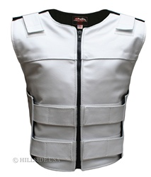 Women's  Zippered Tactical Style White Leather Vest