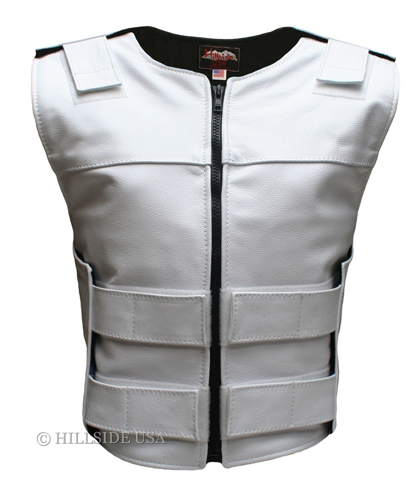 Women's White Zippered Bulletproof Style Leather Vest, where design and function coexist with supple leather for the best in comfort and beauty. Hand-crafted of (2 1/2 oz) full- grain cowhide leather. Adjustable Velcro waist and shoulder leather straps to