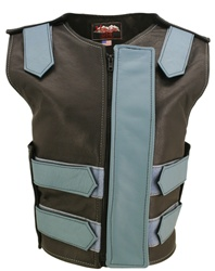 Women's Removable Flap Tactical Leather Vest Black/Baby Blue(Clearance)