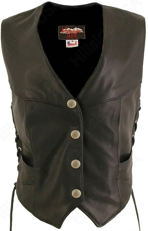The Biker Laced Vest is a perfect example of why Hillside USA is your premier online leather apparel store. True luxury, true style. Luxurious hand finished leather complements perfect design and stitching. With genuine mercury Dime converted into snaps b
