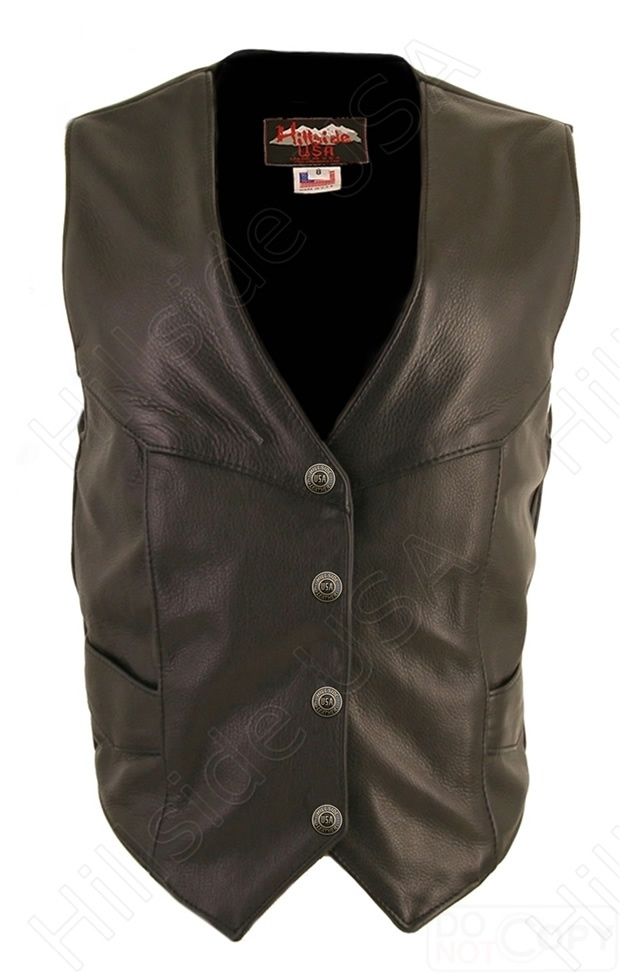 Women's Biker Vest. Classic lines and simple stitching patterns create a wonderful style. Hand- crafted with 1.2-1.4mm (3-3 1/2 oz) Soft, Supple Cowhide Naked Leather. Two external cordural lined pockets, two zippered inside cordura lined pockets. Poly Tw
