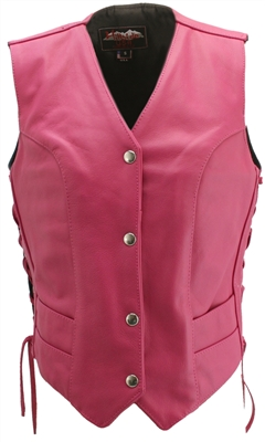 Women's Hot Pink Leather Vest
