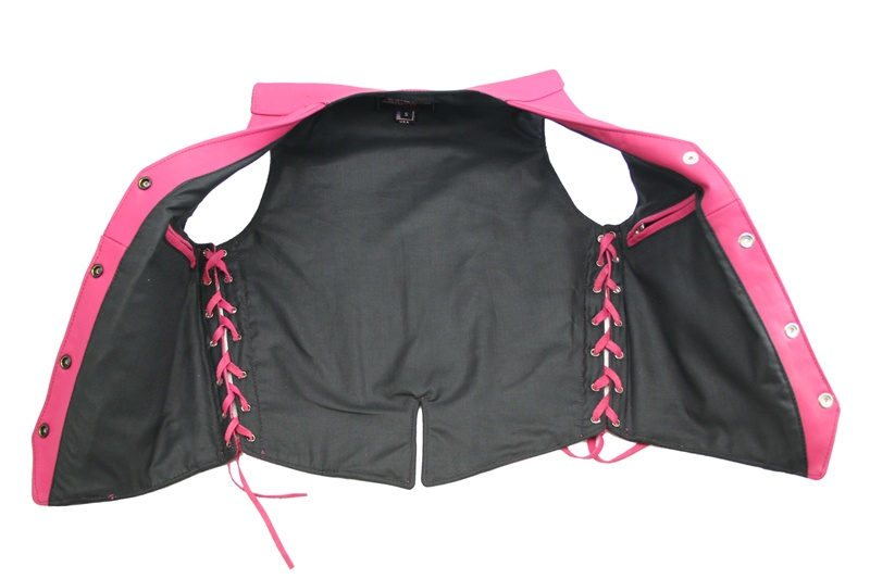 - Women's Hot Pink Leather Vest