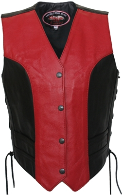 Women's Red/Black Leather Vest