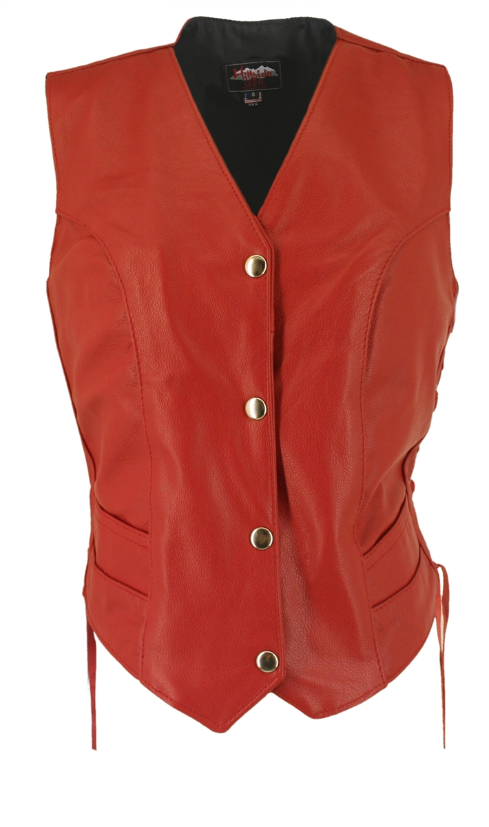 Women's Red Leather Vest. Simple elegance. Classic style, legend in the making....100% US Made. Each item is built by a craftsman who averages more than ten years experience in building world class leather apparel.  Double stitch decorating the front and