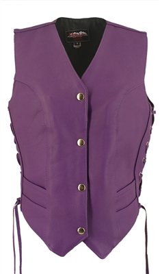 Women's Royal Purple Leather Vest