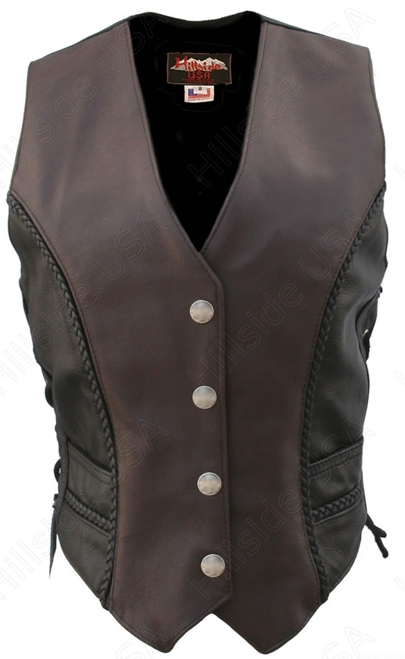 Women's Braided Black-Brown/Genuine Mercury Dime (Two Tone). Simple elegance. Classic style. The Two Tone Braided Motorcycle Leather Vest is a legend in the making....100% US Made. Each item is built by a craftsman who averages more than ten years experie