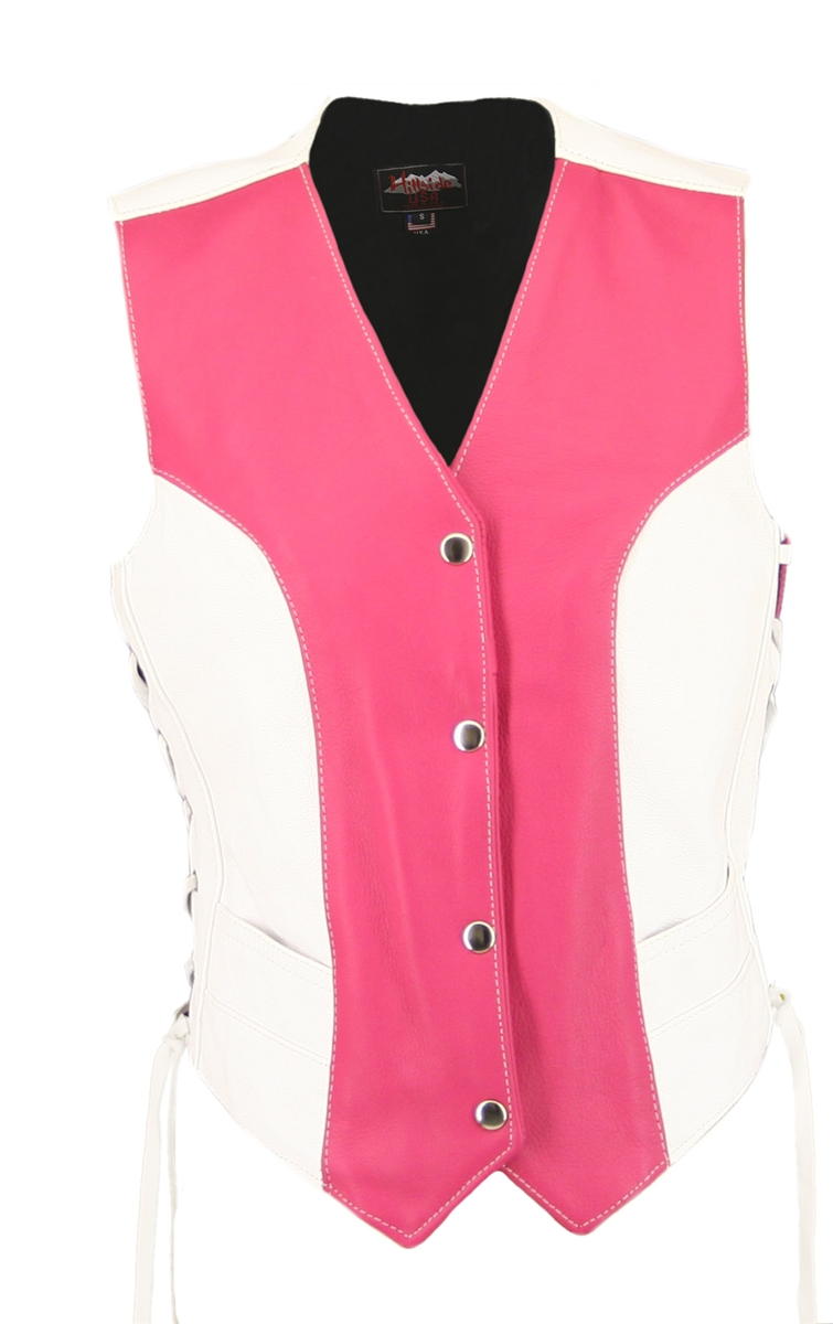 Women's Hot Pink White Leather Vest