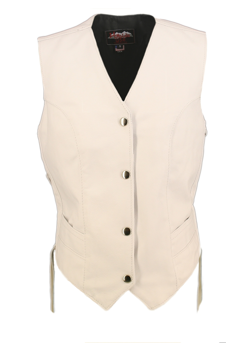 Women's White Leather Vest. Simple elegance. Classic style, legend in the making....100% US Made. Each item is built by a craftsman who averages more than ten years experience in building world class leather apparel.  Double stitch decorating the front an