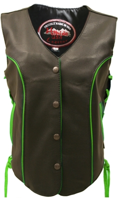 Women's Lime-Green Trim Biker Vest