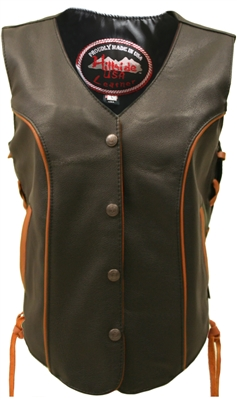 Women's Orange Trim Biker Vest