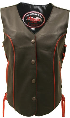 Womens Red Trim Biker Vest