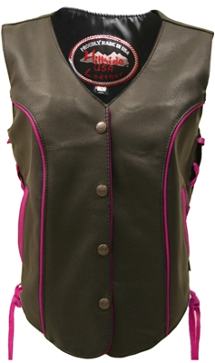 Women's Hot Pink Trim Biker Vest
