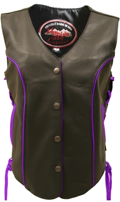 Women's Royal Purple Trim Biker Vest