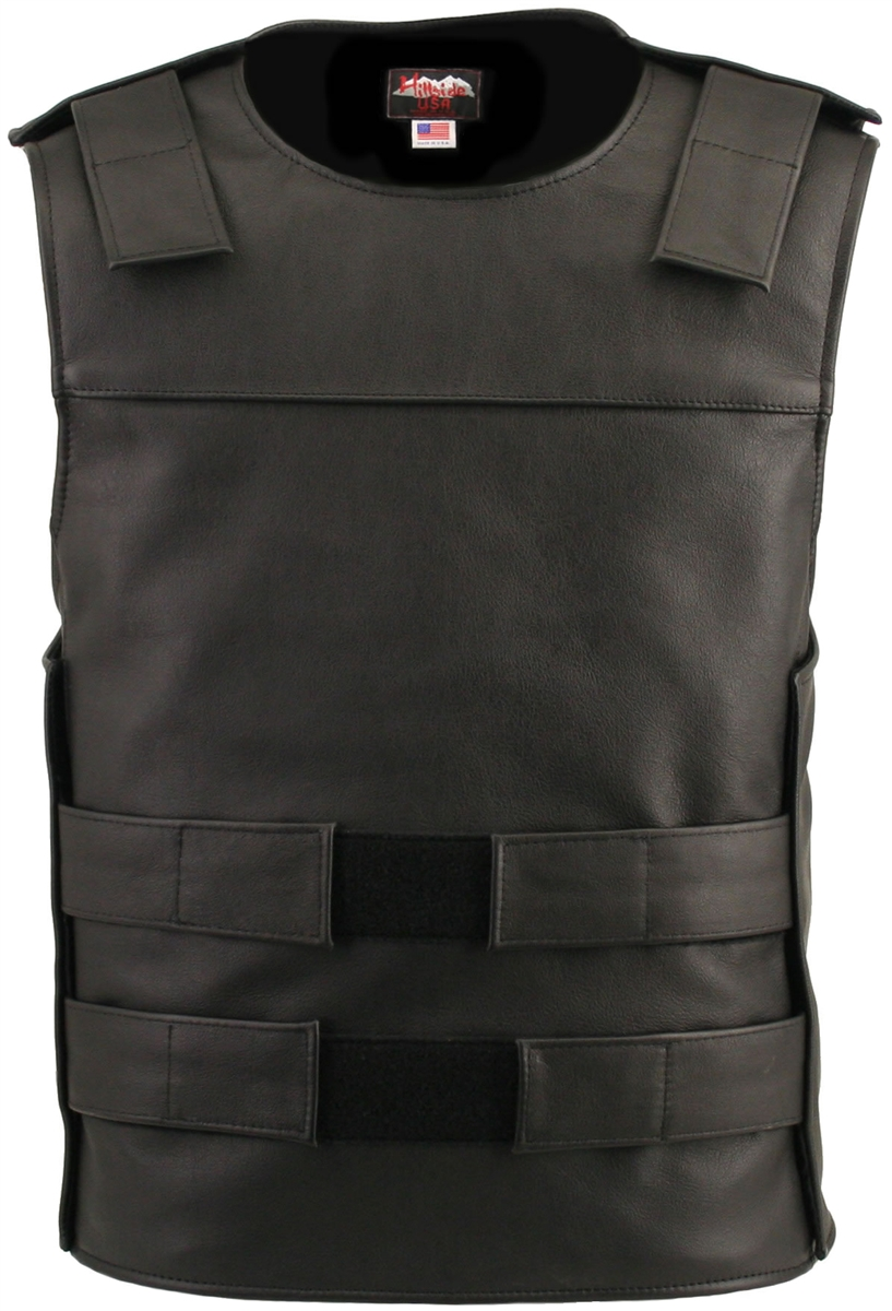 Men's Black Bulletproof Style Vest. Hand-crafted with durable Full-grain Cowhide leather (2 1/2 oz.) large back panel - excellent for club
