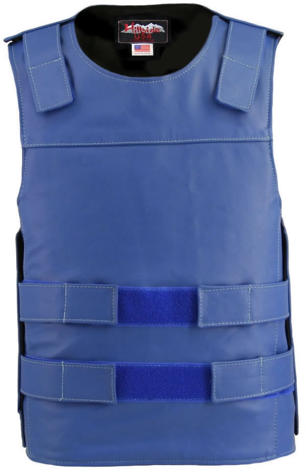 Men's Royal Blue Bullet proof Style Leather Vest. Hand-crafted with durable Full-grain Cowhide leather (2 1/2 oz.) large back panel - excellent for club