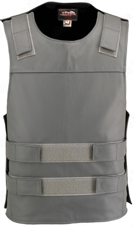 Grey Bulletproof Style Leather Vest for Men. Hand-crafted with durable Full-grain Cowhide leather (2 1/2 oz.) large back panel - excellent for club