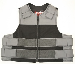 Kids Combo Leather/Cordura Tactical Vest Grey & Black