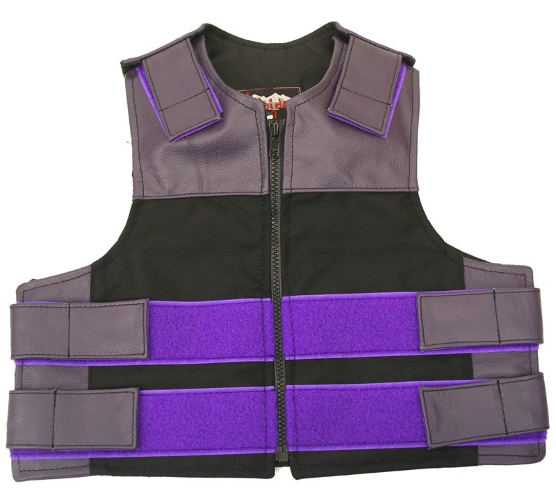 Our Kid's Combo Zippered Bulletproof style vest offer similar quality and features found in our adult sizes and are available in combination of leather and waterproof Denier Cordura 1000 fabric. Zippered Front, adjustable leather straps at shoulders for l